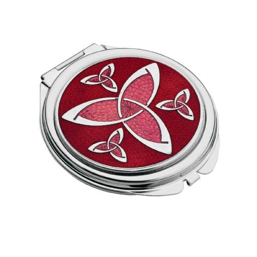 Compact Mirror Silver Plated Trinity Knot Handbag Magnifying Travel Cosmetic